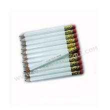 Half Golf Pencils with Eraser White Golf Hexagon #2 Pencil Sharpened