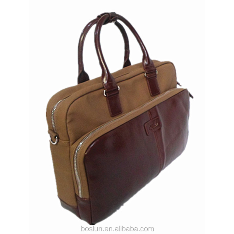 custom top-quality brown genuine leather men's briefcase with hot selling laptop breifcase