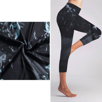 Custom Polyester Spandex Digital Printed 4 Way Stretch Yoga Pants Fabric For Sale