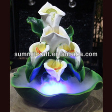Custom polyresin flower style indoor small tabletop water fountain