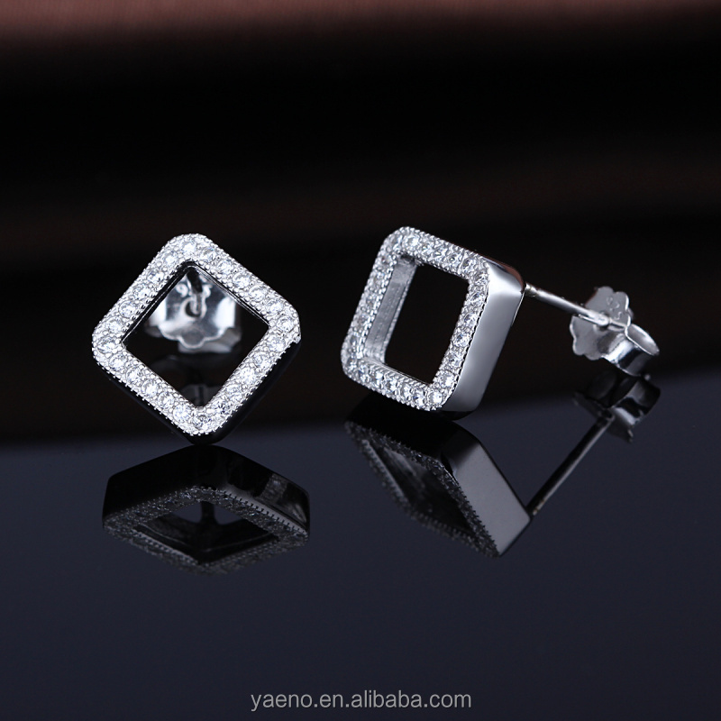 Popular Ear Jewelry Elegant Zircon 925 Sterling Silver Square Shape Diamond Stud Earrings