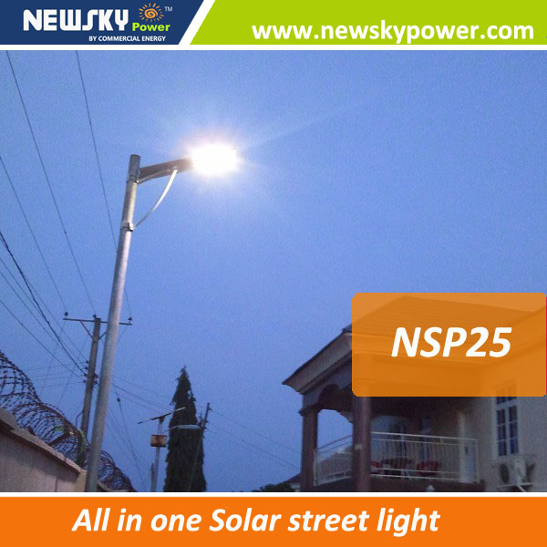 25w all in one solar light solar power of solar street lamp project all in one solar parking lots light