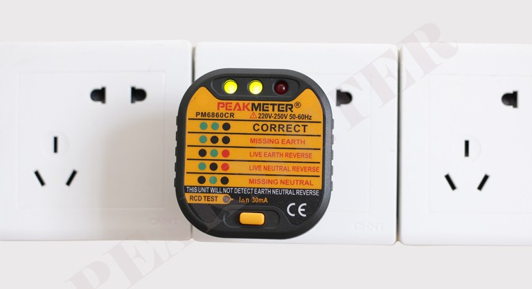 With RCD Test EU Standard 230V Plug Socket Tester PM6860DR