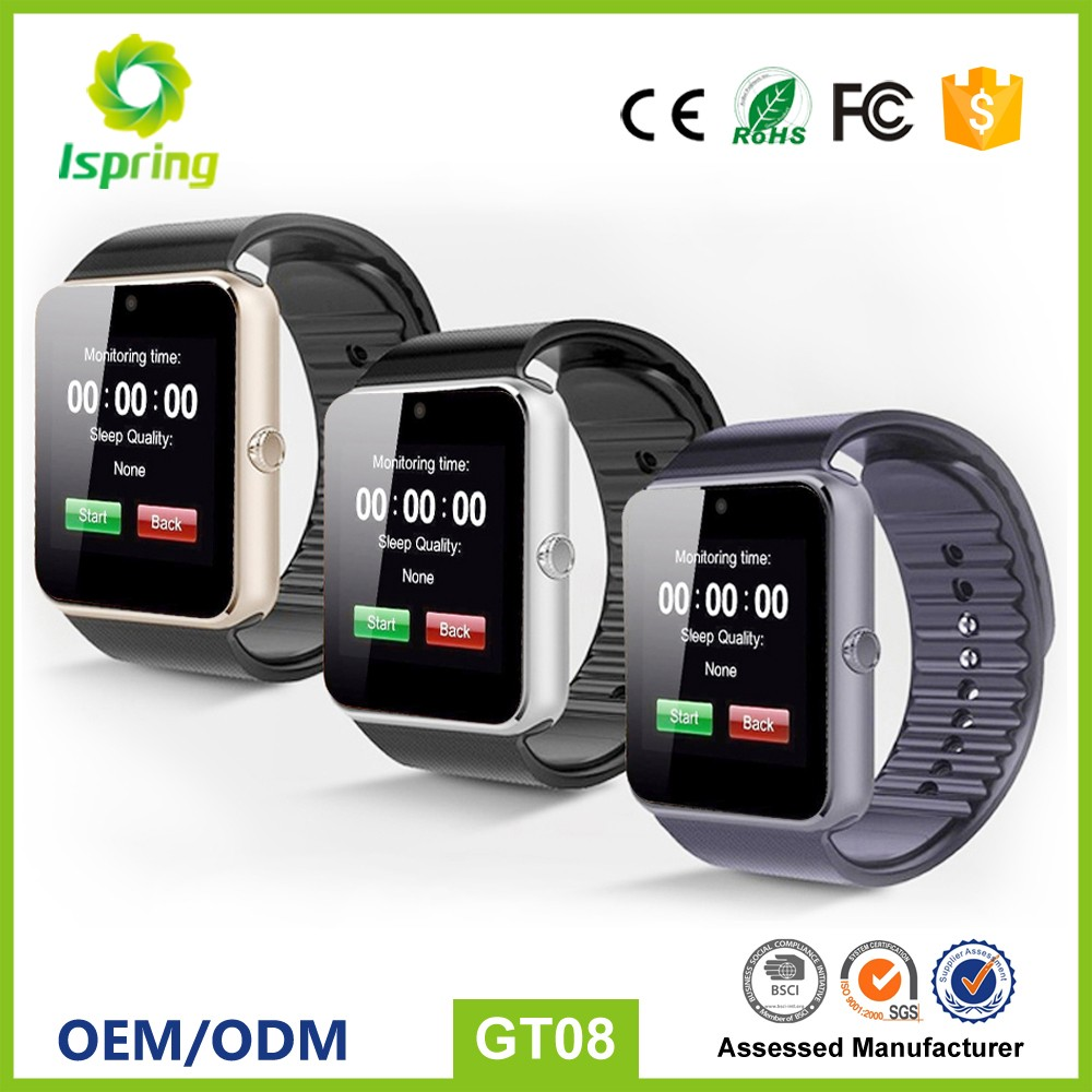 smart watch dual sim w8,gt08 smart watch phone universal for apple and for samsung mobile phone