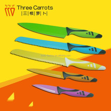 China Supplier 5pc Color Blade Non-Stick Japanese Kitchen Knife
