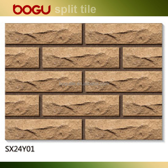Light brown 60x240mm irregular design finish wall brick tile exteior clinker rough tile for outdoor wall cheap china 2016