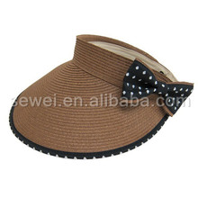 Wholesale Blank Custom Straw Hat Decorate Lace Ribbon And Dot Bowknot