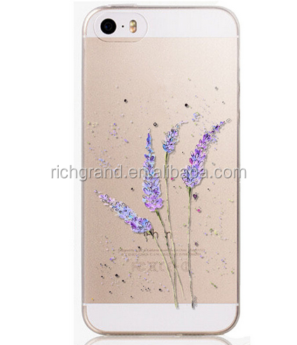 New Arrival Hot Soft flowers TPU Phone Skin For Apple iPhone 4S 5 5S 6 6S Case Transparent Clear Back Case Cover