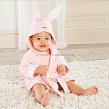 cartoon design lovely baby bath robe hooded kids cotton bathrobe