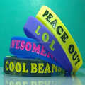 Custom High Quanlity Promotional New Design Debossed Ink Filled Silicone Bracelets