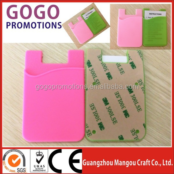 OEM Wholesale Promotional Fashionable Silicone Mobile Pocket Smart Phone Wallet Soft Silicone Cell Phone Wallet from factory