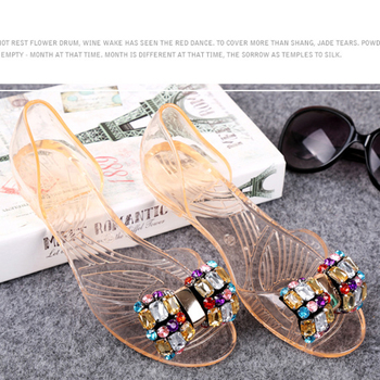 Lady glitter crystal wholesale sandals plastic sandals