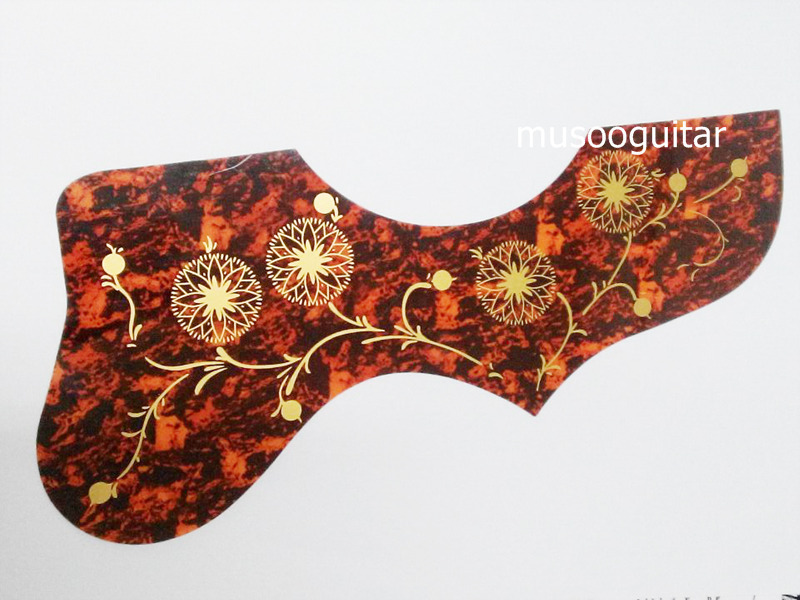 Free shipping 2 Pcs Red Shell Hummingbird Flower Folk Acoustic Guitar Pickguard Pick Guard Anti-scratch Plate (JPHN-RED-02