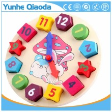 Hot sales kids enducational toy geometry puzzle colorful wooden clock