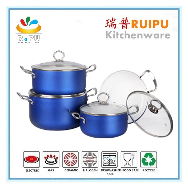 2016 kitchen cookware aluminum colorful induction ceramic casserole dish with lid/casserole with stainless steel handle cookware