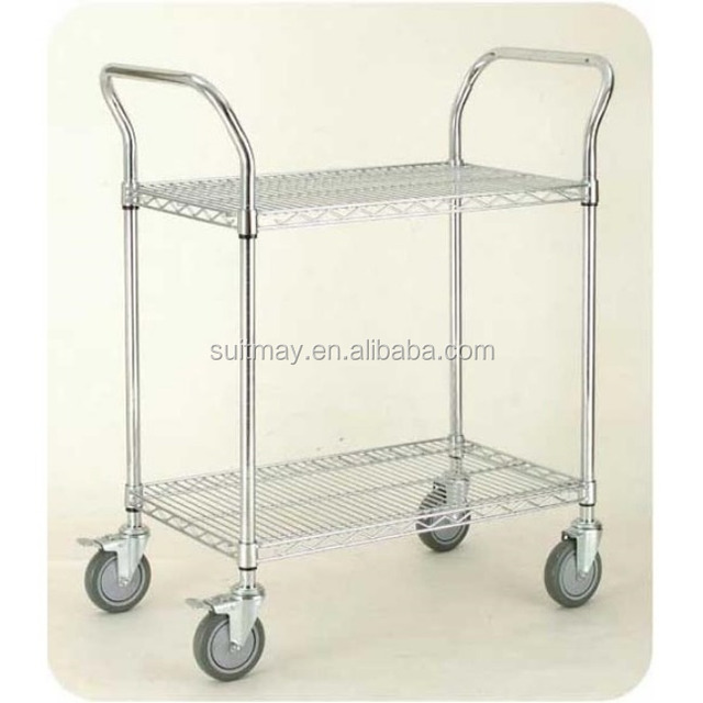 ESD Push Cart NSF Chrome-Plated Wire Shelving Trolley