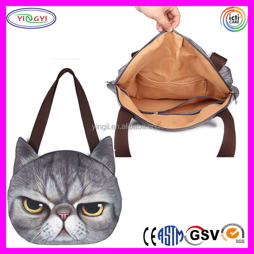 F233 Big Women Kitten Shoulder Bag Vivid Cute 3D Cat Face Lightweight Crossbody Bag Handbag with Cat