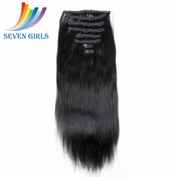 Sevengirls wholesale Factory price soft natural straight brazilian remy clip in hair extension