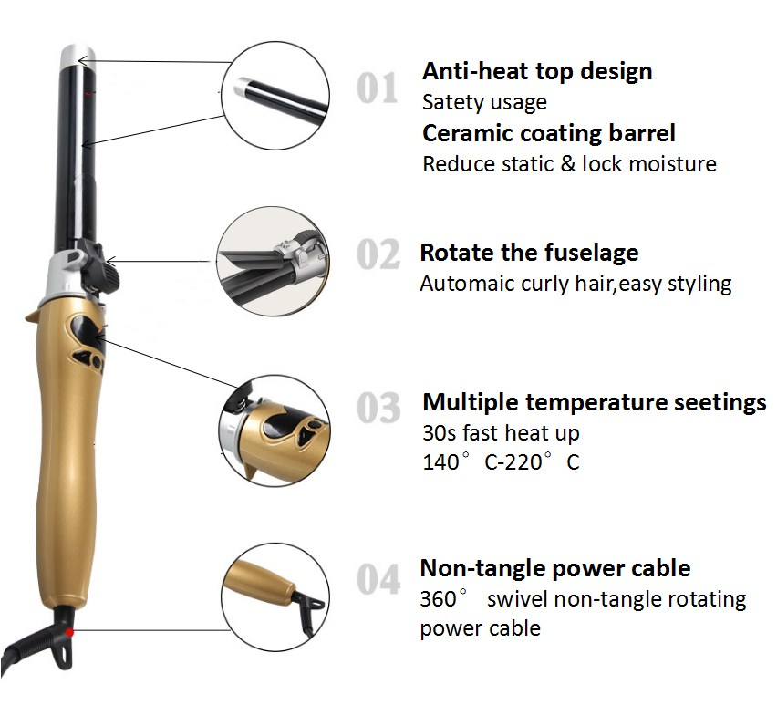 2019 Professional Hair Curler with LCD Display auto rotating curling iron
