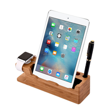 Multifunctional <strong>Bamboo</strong> Mobile Phone Charging Stand Bracket Docking <strong>Holder</strong> with Watch Stand