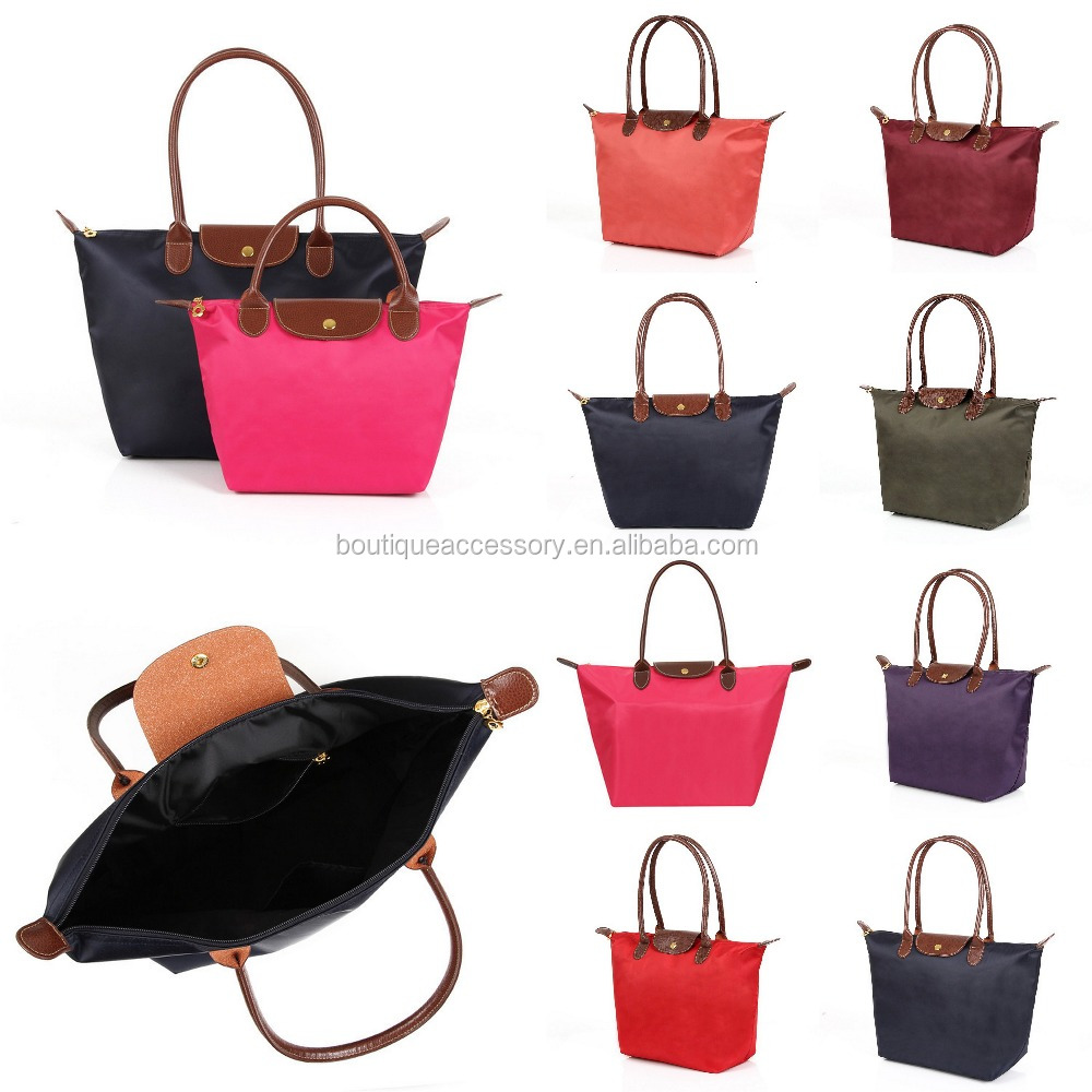 Monogrammable Nylon Handbag Inspired Folding PU Leather Tote