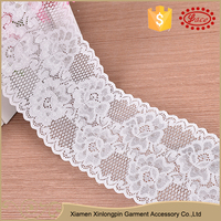 Wholesale white elegant 9.5cm spandex import lace fabric for dress