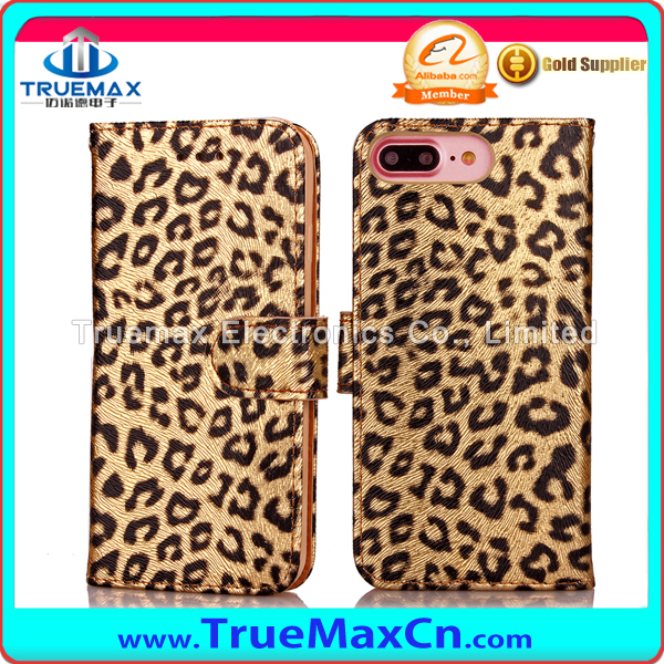 Hot Selling Leopard Grain PU Flip Leather Wallet Phone Case for iPhone 7 plus