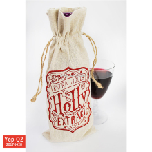 Professional factory supply jute gift custom recycled drawstring Red Wine Bag with embroidered logo