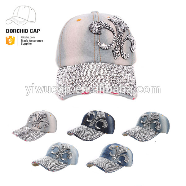 worn-out washed jean baseball cap vase bling-bling rhinestone wholesale baseball cap <strong>hats</strong>