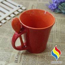 Inner handle colourful dye sublimation mugs wholesale coffee brand gifts with spoon