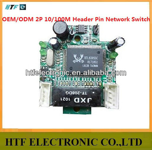 Customized OEM 2 Port 10/100M 2 header Pin connector Unmanaged Half-Full duplex Lay2 PCBA Module 5P Ethernet Network SWITCH