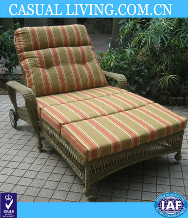 Most popular Double Adjustable Chaise Lounge rattan chair with wheel