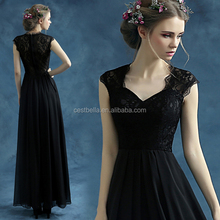 2016 Latest gown designs black long evening dress christmas party formal evening dress