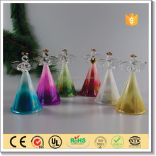 wholesale cute light up glass angel for wedding table decoration