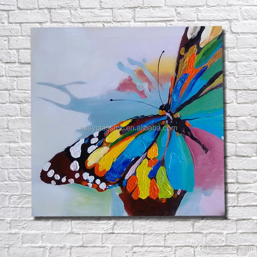 Hand painted flower butterfly oil painting art on canvas