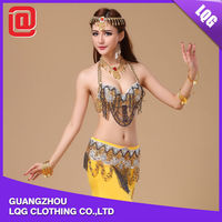 2015 sexy handmade beaded bling sequins decorated belly stage dance wear