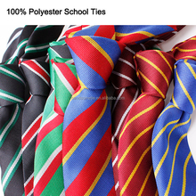 Fashion Oem School Students Uniform Stripe Narrow Polyester Neckties
