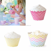 Baking Packaging Paper Cup Cake Border Decoration birthday chevron cupcake wrappers