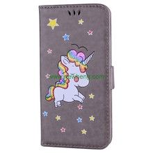 Wholesale Painted Unicorn Design Glitter stand flip pu leather case For iPhone 7