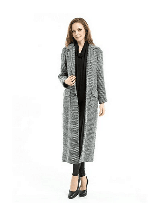 Women's Winter Long Trench Coat Plaid Snowflake Loosen Outwear Manteau