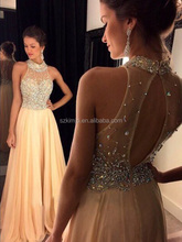 Fashionable Designer High Neck Beaded Prom Dresses Long Backless Sexy Formal Dresses