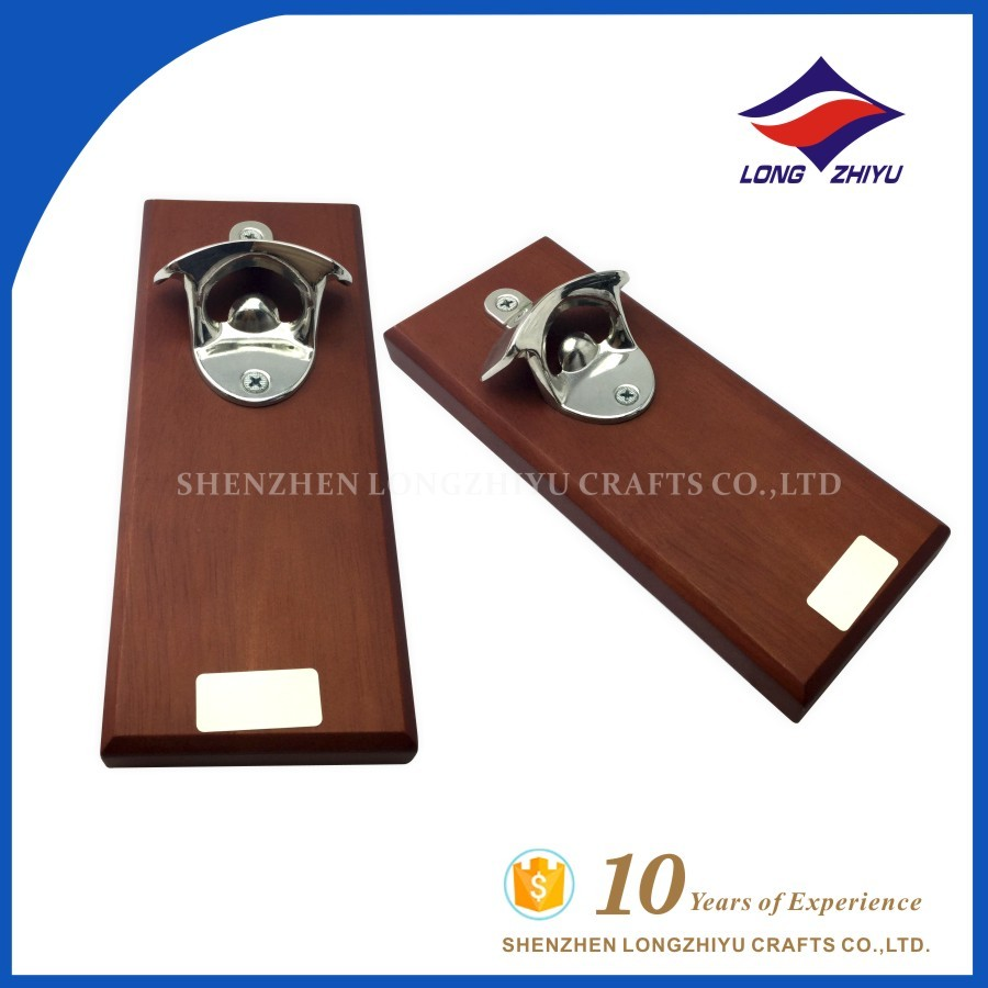 Shiny Silver Wall Mounted Beer Bottle Openers with Wood Plate