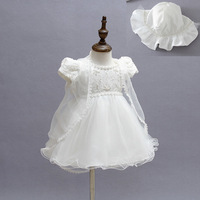 2 piece with hat Latest design birthday party dress 1 year baby angel dress
