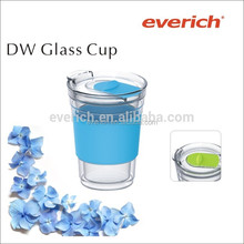 Hot Sale 300ml Double Wall Glass Cup with Silicone Grip and Tritan Lid
