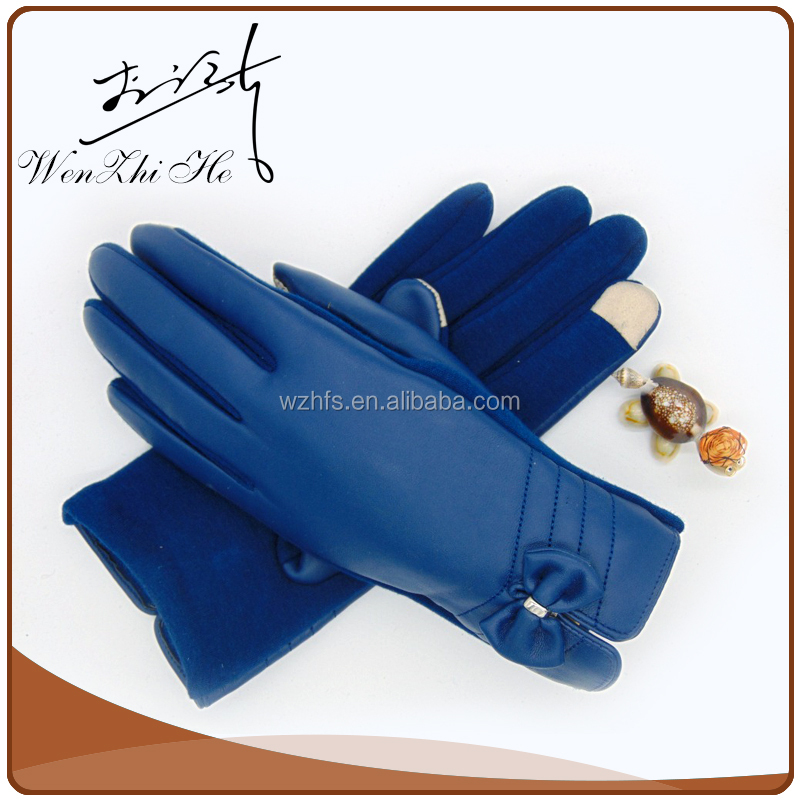 Denim Cloth Best Price Girls Gloves With Nails Leather