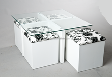 CT-2175 New Modern Glass Top White Gloss Coffee Table With 4 Stools