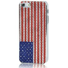 The Old Glory Pattern 3D Rubber Diamond Style Anti-skidding Silver Plating Plastic Case For iPhone 5