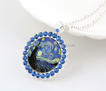 Fashion jewelry western style van gogh starry night pendant crystal glass necklace