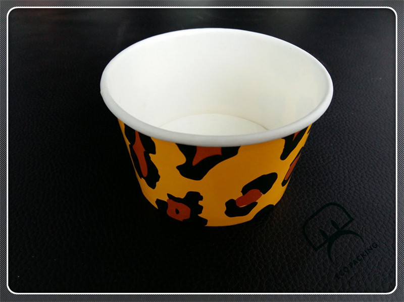 Disposable customized 8oz 16oz for ice cream paper cups with dome flat lids