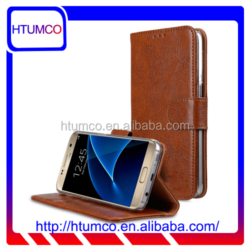 Folio Stand Fashion Genuine Leather Case for Samsung Galaxy S7